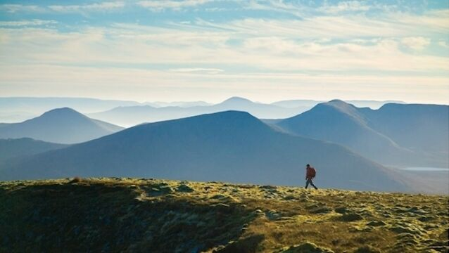 Striding across the summit ridge of Slieve Carr, County Mayo, the most remote mountain in Ireland. Picture: Gareth McCormack