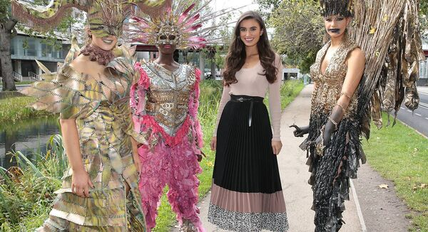 Former Miss Ireland and primary school teacher Aoife O'Sullivan with students modelling Junk Kouture designs.