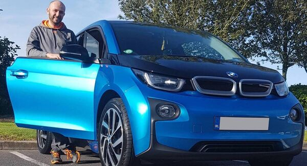 Guillaume Séguin with his BMW i3.