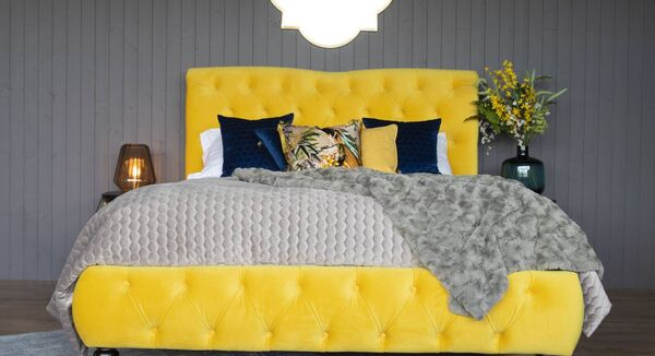 For a dramatic focal point to any bedroom, vivid yellow fabric on EZ Living's Truffle bed is eye-catching with all-important comfort and luxury -5ft bed €799-.