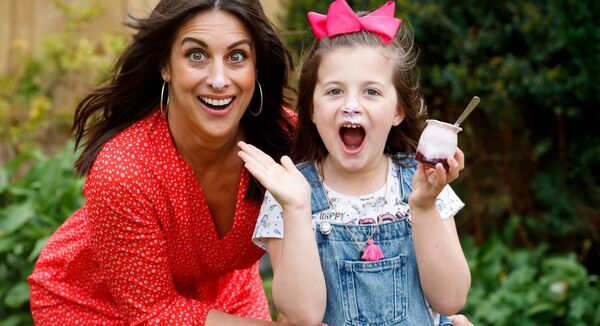 Lucy Kennedy pictured at home with her daughter Holly (8) launching Danone Dairy Ireland's new yogurt range. Picture: Andres Poveda