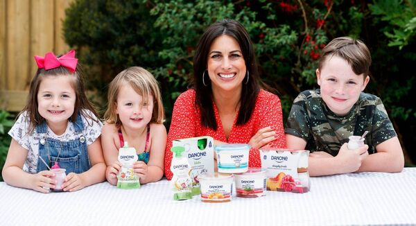 Lucy Kennedy pictured at home with her children Holly -8-, Jess (3) and Jack (10), launching Danone Dairy. Picture: Andres Poveda