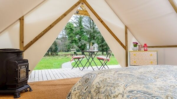 The view from inside a glamping tent in Killarney, Co Kerry