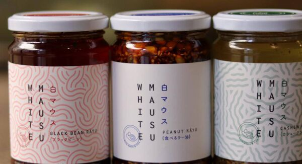 The splendid White Mausu rayu range of chilli and oil-based condiments