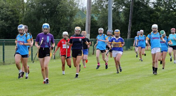The Carrigaline camogie squad resume training last night after the Covid 19 lockdown, at Carrigaline GAA grounds, Carrigaline, Co. Cork. Picture: Jim Coughlan
