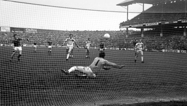 Offaly goalkeeper Martin Furlong goes full length to save a penalty from Mikey Sheehy during the 1982 All-Ireland final.