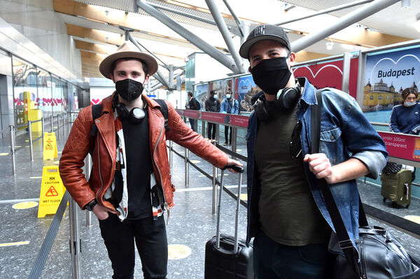 Giuseppe Russo and Giovanni Tavano leaving on a Ryanair flight to Naples from Cork Airport. Picture: Eddie O'Hare