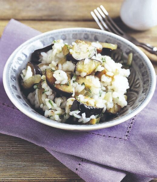 Miso aubergines with rice and salad