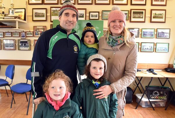 Kieran O'Connor with his wife Sinead and children Ava, Isabelle, and James at the Friends of Kieran fundraising 5km walk at Aghada GAA club in March 2019. Picture: Eddie O'Hare