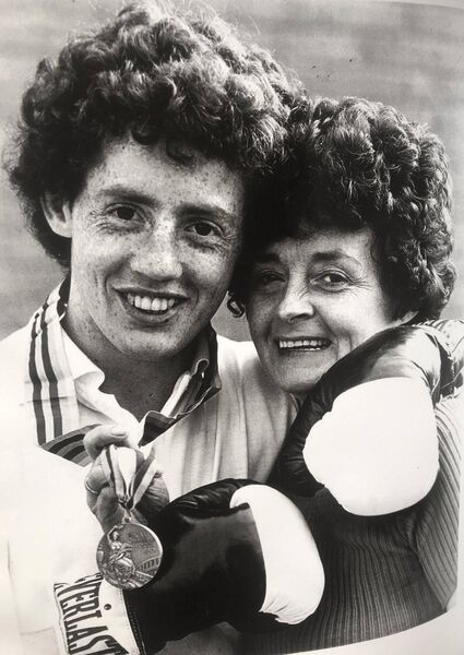 Hugh Russell celebrates his Olympic medal success in 1980