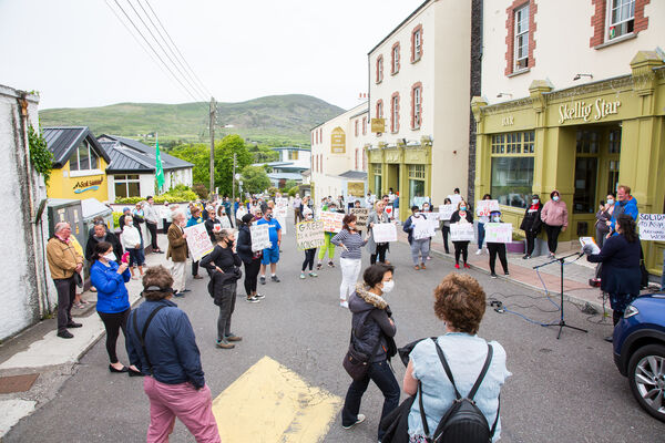 Cahersiveen and residents of the Skellig Star DP gather in protest outside the centre last March. Picture: Alan Landers