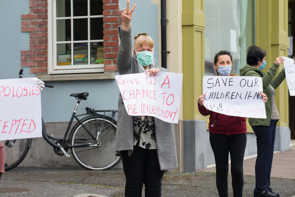 Residents of the Skellig Star DP Centre in Cahersiveen join Locals in Calling for an end to Direct Provision Centres in March. Picture: Alan Landers.