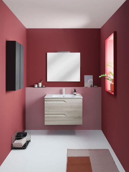 Brava Nature wall-hung vanity unit and slim basin, from sonasbathrooms.ie