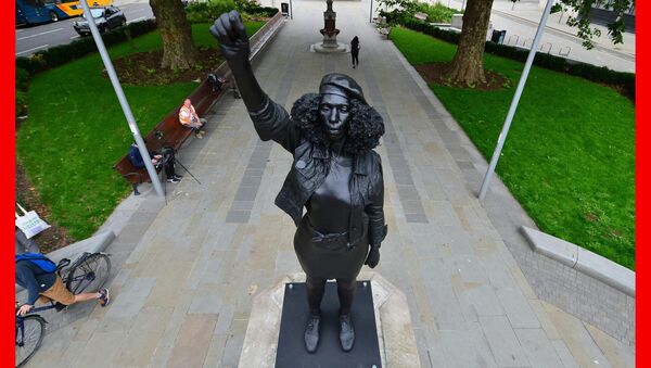 PABest             A Surge of Power (Jen Reid), by prominent British sculptor Marc Quinn, which has been installed in Bristol on the site of the fallen statue of the slave trader Edward Colston. Picture: Ben Birchall/PA Wire