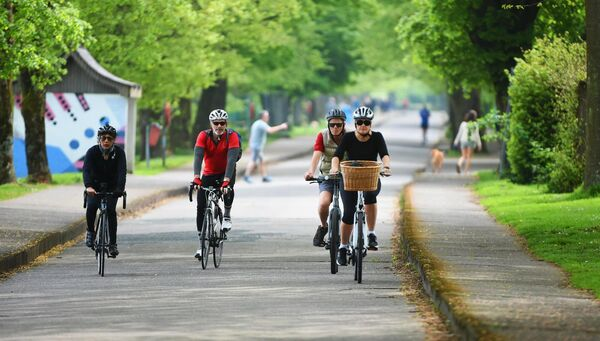 Cyclists enjoying the fine weather during the recent lockdown at The Marina, Cork City. Picture: Larry Cummins