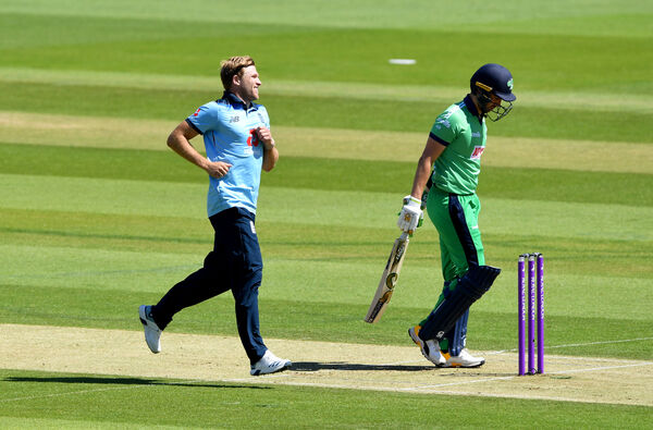 England's David Willey celebrates after taking the wicket of Ireland captain Andrew Balbirnie during the First One Day International of the Royal London Series at the Ageas Bowl, Southampton.