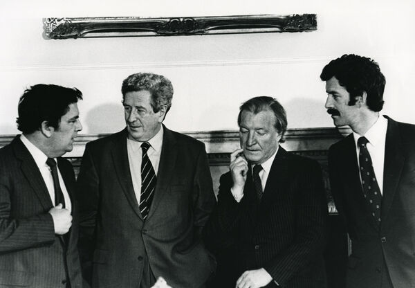 John Hume, Garret FitzGerald, Charles Haughey, and DIck Spring, at the first meeting of the Ireland Forum at Leinster House in 1983. Picture: Eamon Farrell/RollingNews.ie