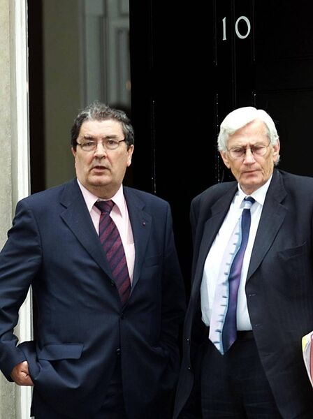 John Hume and Seamus Mallon outside No 10 Downing Street in 2001.