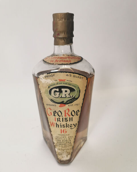 The bottle of George Roe single malt Irish whiskey. Picture: Victor Mee Auctions/PA Wire