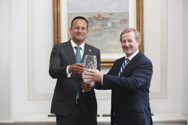 Enda Kenny awarded European Movement Ireland's European of the Year in 2018 by Leo Varadkar. File picture: Conor McCabe Photography.