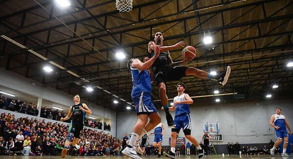 FLYING HIGH: Kendall Williams of Garvey's Tralee Warriors goes up for a basketin the SuperLeague clash with Maree. The warriors are locked in a title battle with Belfast Star.  	Picture: Brendan Moran/Sportsfile