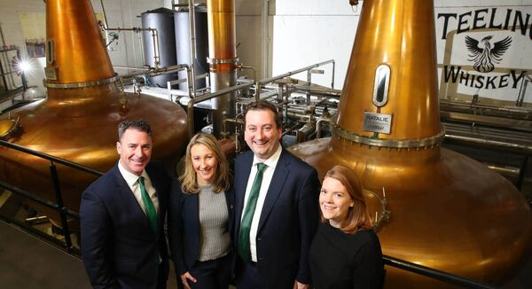 At a recent event in Teeling Whiskey Distillery are Andrew Cowan, chairman of the Drinks Ireland/Irish Whiskey Association tourism committee and CEO of Matt D'Arcy's & Co in Newry, Co Down; Lisa Jameson, brand home general manager for Teeling Whiskey Distillery; William Lavelle, head of Drinks Ireland/ Irish Whiskey Association; and Claire MacCarrick, Irish Distillers.	Picture: Marc O'Sullivan