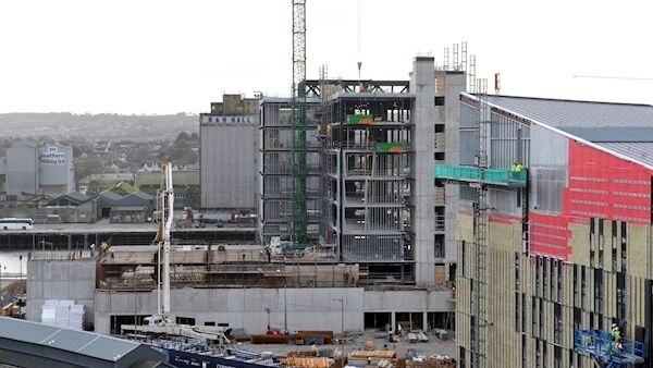 On right of picture: The 200-bedroom Dean Hotel under construction beside Kent railway Station Cork with developments at Horgan's Quay beyond it. Picture: Larry Cummins