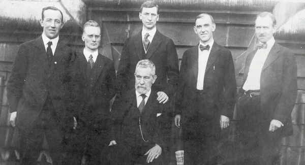 Irish republican leaders with John Devoy, seated, in America, probably in 1919 or 1920. Standing, left to right: Harry Boland, Liam Mellows, Éamon de Valera, Patrick McCartan, and Diarmuid Lynch. Picture: National Library of Ireland