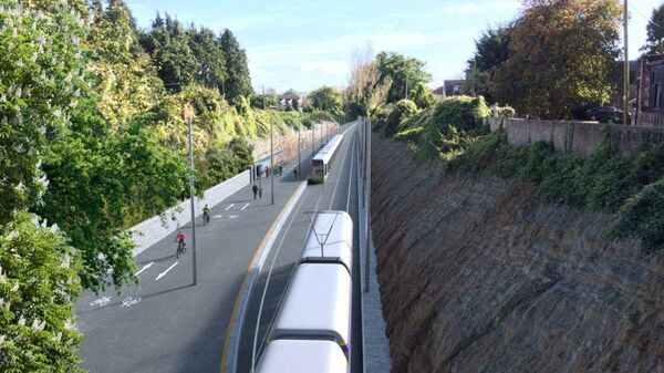 Image showing a planned LUAS for Cork sharing the old Blackrock railway line greenway.