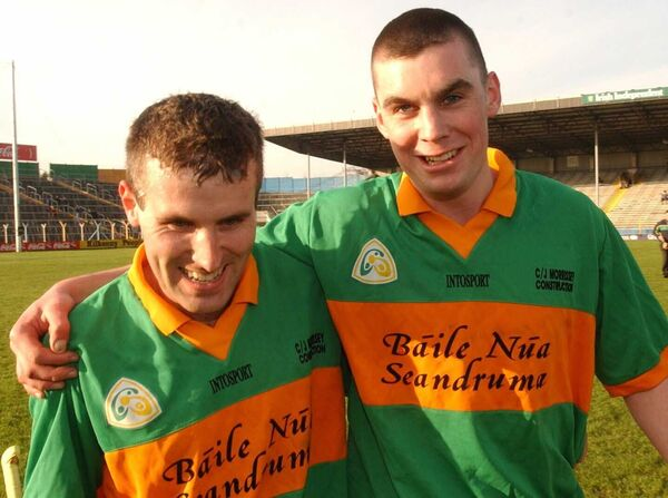 James Bowles (right) pictured with Ben O'Connor in 2004 after the All-Ireland Club SHC semi-final draw with Kilkenny's O'Loughlin Gaels in Thurles. Newtown would lift the Tommy Moore Cup in 2004, and Ben O'Connor and Bowles would return to Croke Park to claim the county crown with Cork six months later. Picture: Dan Linehan