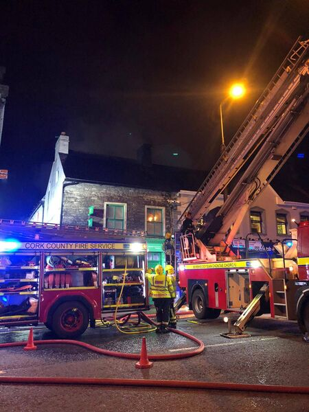 A serious fire broke out on Main Street in Midleton overnight. Picture: Twitter/Cork County Fire Service - @corkcountyfire.