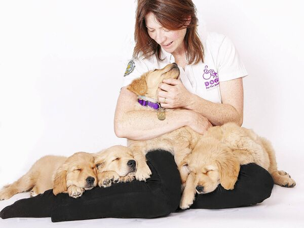 CEO of Dogs for the Disabled Jennifer Dowler with a new litter of assistance puppies. The charity has 150 children on its waiting list.