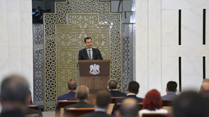 Syria's Assad halts speech and complains of drop in blood pressure