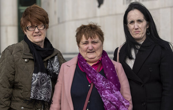 Anne and Amanda with their aunt Ann Foley outside the Court of Appeal in March 2020, after Darren Murphy's last appeal was dismissed. Picture: Collins Courts