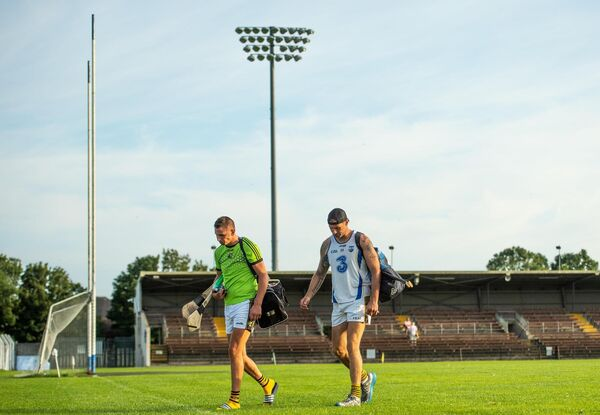 Maurice Shanahan, left, and Dan Shanahan of Lismore leaving Fraher Field last week. Photo by Eóin Noonan/Sportsfile