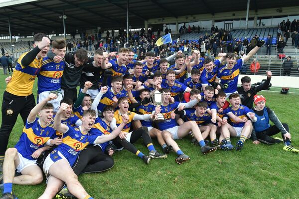 Tralee CBS captain Sean Quilter celebrates with teammates after winning the Corn Uí Mhuirí final against St Brendan's College, Killarney, last February. Picture: Don MacMonagle