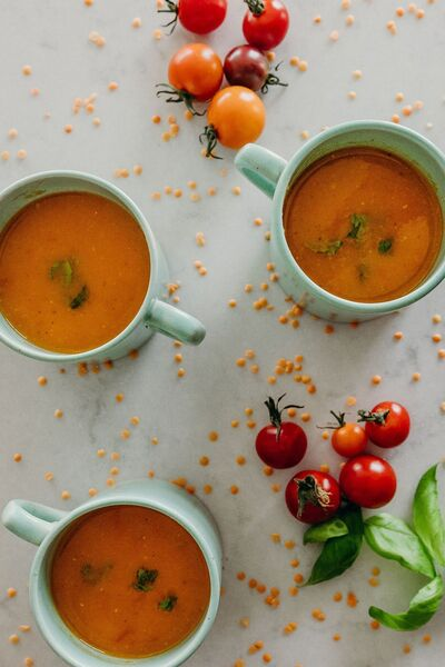Tomato, lentil and basil soup is filling and hearty, and packed full of fibre.