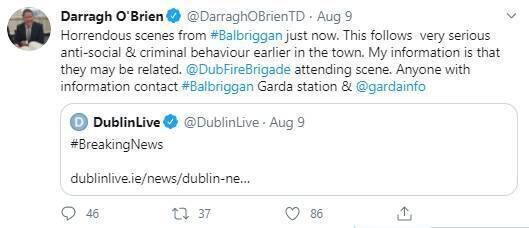 Tweet by Darragh O'Brien