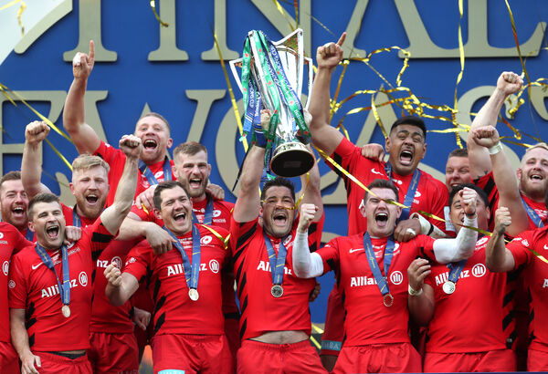 Saracens celebrate with the trophy during the Champions Cup Final last year