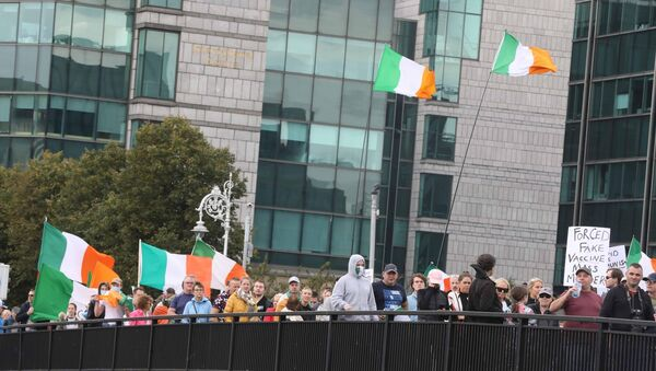Large numbers of supporters of groups which are opposed to Covid-19 restrictions arrive at Government Buildings as they demonstrate in Dublin city last week. Picture: Leah Farrell/Rollingnews.ie