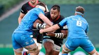 Billy Vunipola is tackled by Ryan Baird and Caelan Doris 19/9/2020
