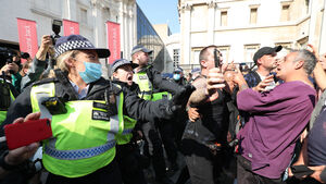 32 arrested after 'hostile and violent' outbreaks at anti-vax protest in London