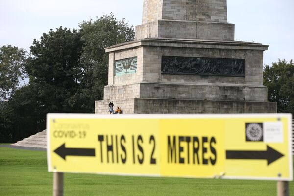 A 2 metre social distancing sign in the Phoenix Park in Dublin. Picture: Stephen Collins/Collins Photos
