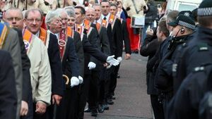 Orange Order demonstration goes ahead with large police presence
