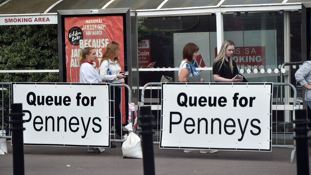 <p>The Penneys outlet at Wilton Shopping Centre, Cork, where a staff member has tested positive for Covid. Picture: Eddie O'Hare</p>