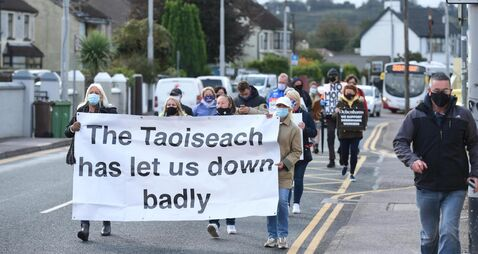 Debenhams workers march on Taoiseach's Cork office demanding he 'step up to plate'