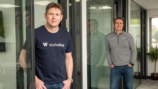 40% of Workvivo's customer base has joined the platform since March. Pictured are founders John Goulding and Joe Lennon.