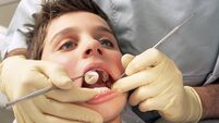 Close-up of boy having teeth examined