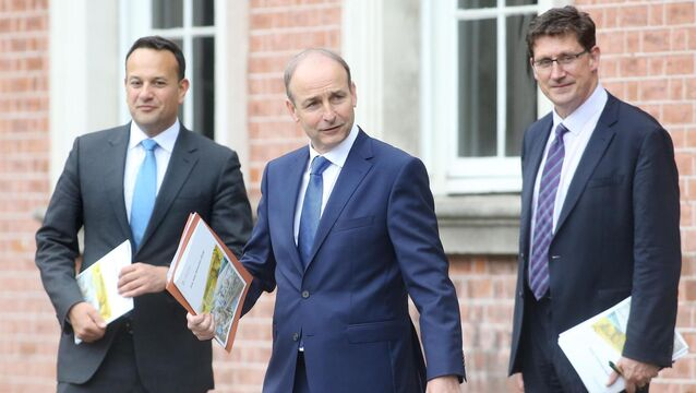 <p>Party leaders Leo Varadkar, Micheál Martin and Eamon Ryan. Picture: Sam Boal/RollingNews.ie</p>