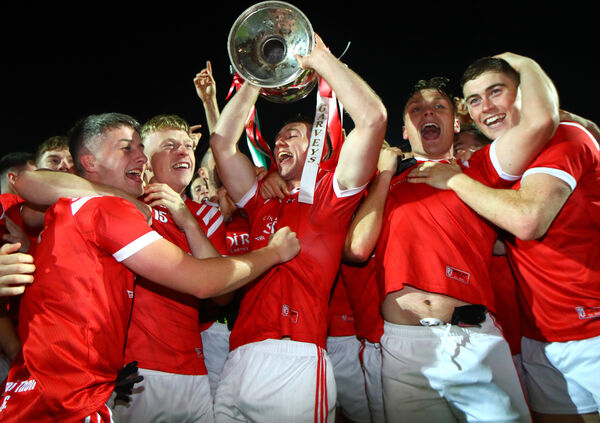 The East Kerry team celebrate as captain Dan O'Donoghue holds the trophy. INPHO/James Crombie